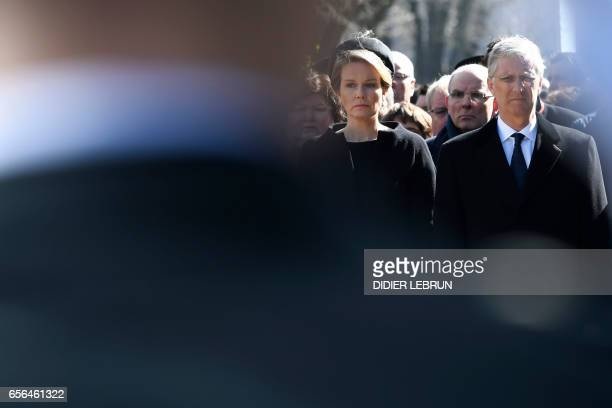 Queen Mathilde of Belgium and King Philippe of Belgium attend the inauguration of a steel memorial by Belgian sculptor JeanHenri Compere at the heart...