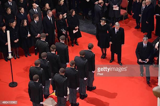 Queen Mathilde of Belgium and King Philippe of Belgium during the funeral of Queen Fabiola of Belgium is held at Notre Dame Church on December 12,...