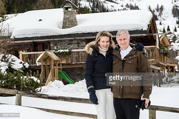 Queen Mathilde of Belgium and King Philippe of Belgium pose for photos during their family skiing holiday on February 08 2016 in Verbier Switzerland