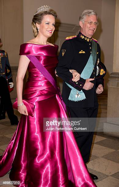 Queen Mathilde of Belgium and King Phillipe of Belgium attend a Gala Dinner at Christiansborg Palace on the eve of the 75th Birthday of Queen...