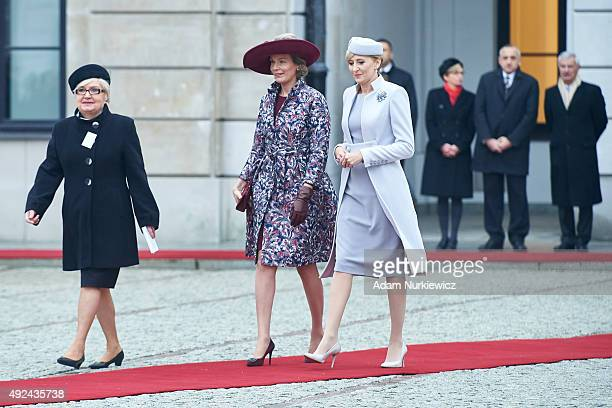 Queen Mathilde of Belgium and Polish First Lady Agata Kornhauser-Duda attend the welcoming ceremony at the Presidential Palace as part of official...