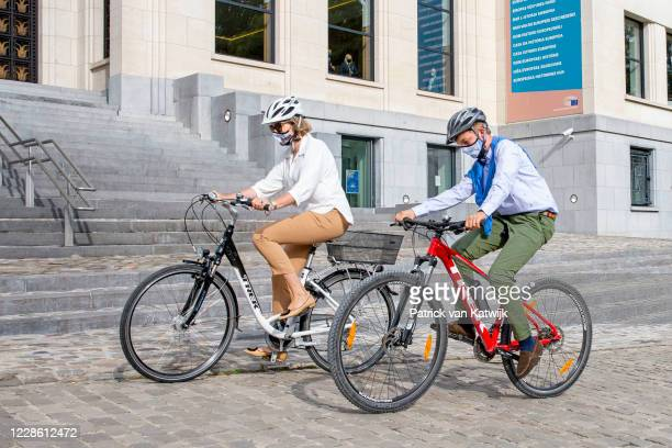 Queen Mathilde of Belgium and Prince Emmanuel of Belgium visit the house of European History by Bike on Car Free Sunday on September 20, 2020 in...