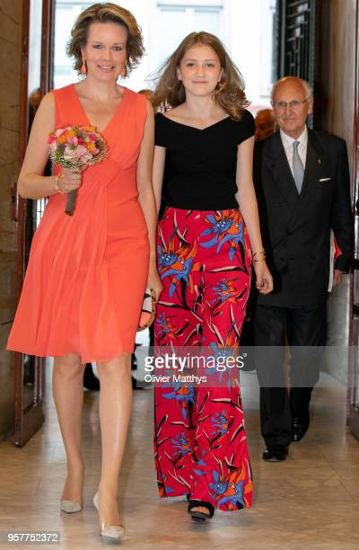 Queen Mathilde of Belgium and Princess Elisabeth attend the finals of the Queen Elisabeth Contest in the Bozar on May 12 2018 in Brussels Belgium