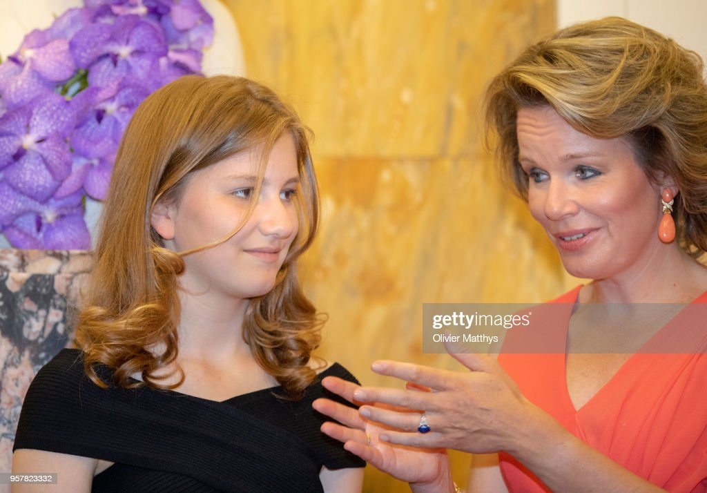 Queen Mathilde of Belgium and Princess Elisabeth attend the finals of the Queen Elisabeth Contest in the Bozar on May 12, 2018 in Brussels, Belgium.