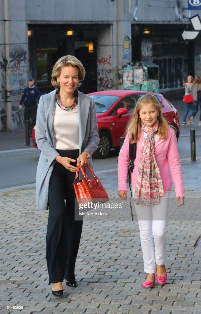 Queen Mathilde Of Belgium Brings Her Children, Elisabeth, Eleonore & Gabriel To Sint-Jans Berghmanscollege To Attend First Day Of School : News Photo