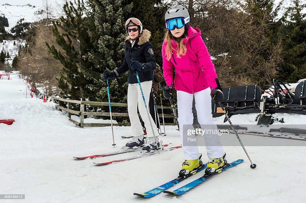 Queen Mathilde of Belgium (L) and Princess Elisabeth, Duchess of Brabant (2nd R) ski during their family skiing holiday on February 08, 2016 in Verbier, Switzerland.