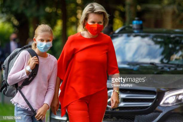 Queen Mathilde of Belgium and Princess Eléonore of Belgium wear protective masks at the Sacred Heart College, on September 01, 2020 in Tervuren,...