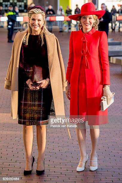 Queen Mathilde of Belgium and Queen Maxima of the Netherlands visit the exhibition Pierre Alechinsky Post Cobra at the Cobra Museum on November 29...