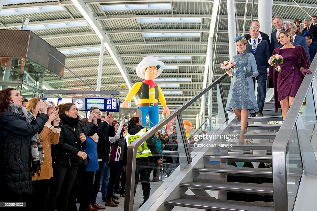 Queen Mathilde of Belgium (2ndR) and Queen Maxima of the Netherlands visit the new Utrecht Central station and travel by Dutch Royal Train on November 30, 2016 in Utrecht, Netherlands.