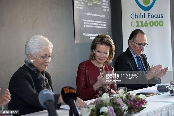 Queen Mathilde of Belgium and Queen Paola of Belgium visit Child Focus' office on January 31 2014 in Brussels Belgium