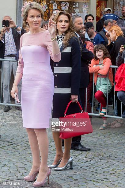 Queen Mathilde of Belgium and Queen Rania Of Jordan attend a royal guided tour through the city of Brugge during a state visit by King Abdullah II of...