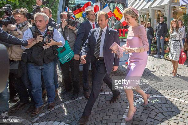 Queen Mathilde of Belgium and Queen Rania of Jordan leave The Chocolate Line shop founded by award winning chocolatier Dominique Persoone during a...