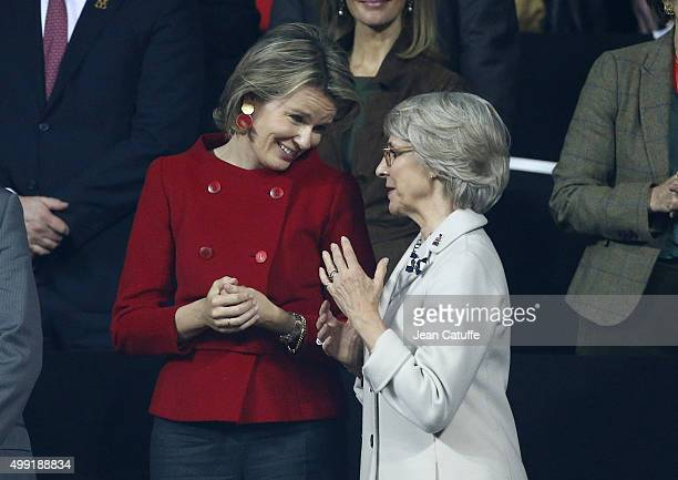 Queen Mathilde of Belgium and The Duchess of Gloucester attend the victory of Andy Murray over David Goffin of Belgium during day three of the Davis...
