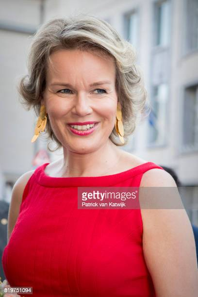 Queen Mathilde of Belgium arrives at Bozar, the Centre for Fine Arts to attend the concert the evening before the Belgian National day on July 20,...