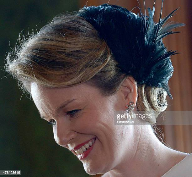 Queen Mathilde of Belgium arrives at Buckingham Palace during an official visit to London on March 13 2014 in London England King Philippe and Queen...
