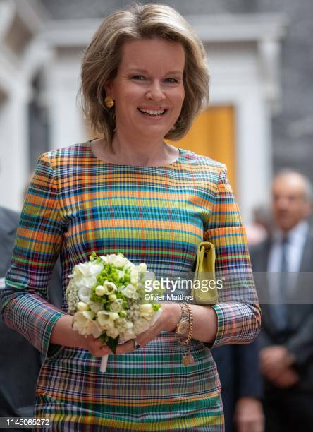 Queen Mathilde of Belgium arrives at the Baillet Latour Grant for Medical Research to award Professor Julie De Backer of Ghent University and...
