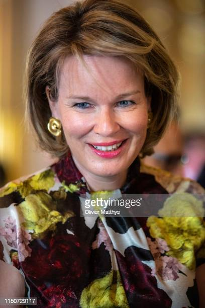 Queen Mathilde of Belgium arrives in the Royal Palace prior to a meeting with the International Queen Elisabeth Music Concurs members of the jury on...