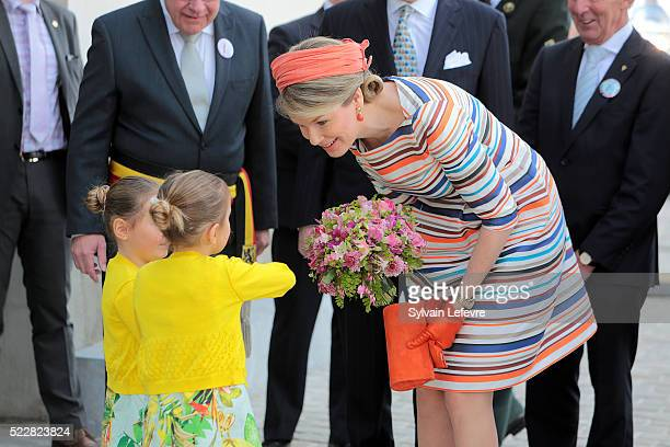 Queen Mathilde of Belgium attends 35th Floralies Of Ghent Official Launch on April 21 2016 in Ghent Belgium
