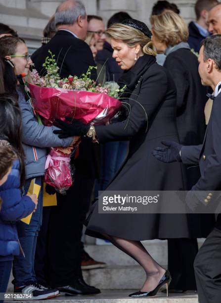 Queen Mathilde of Belgium attends a mass commemoration at Our Lady Church on February 20 2018 in Brussels Belgium