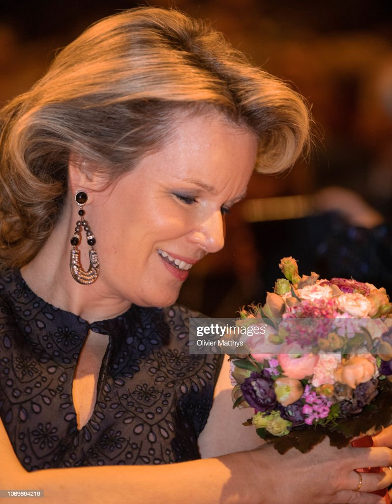Queen Mathilde Of Belgium Attends A Musical Evening Concert To honor The Farewell Of Queen Elisabeth Contest  In Flagey : News Photo