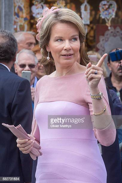 Queen Mathilde of Belgium attends a royal guided tour through the city of Brugge during a state visit by King Abdullah II of Jordan and Queen Rania...