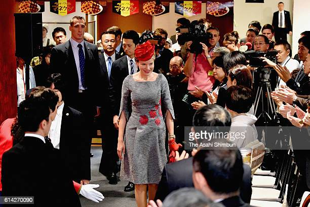 Queen Mathilde of Belgium attends an event to mark the 150th anniversary of the diplomatic relationship between Japan and Belgium at the Matsuzakaya...