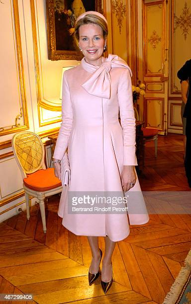 Queen Mathilde of Belgium attends her and King Philippe of Belgium visit the Residence of the Ambassador of Belgium during a One Day Official Visit...