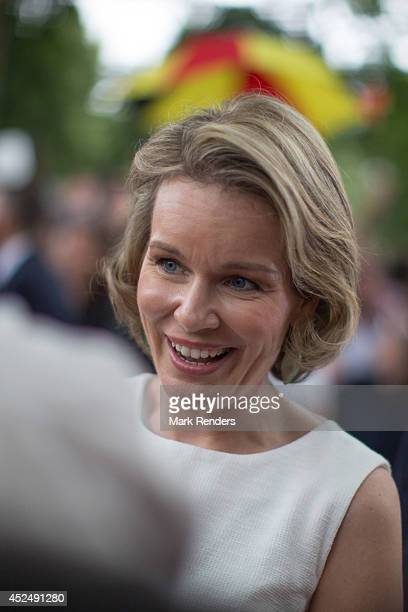Queen Mathilde of Belgium attends National Day at Place des Palais on July 21 2014 in Brussel Belgium
