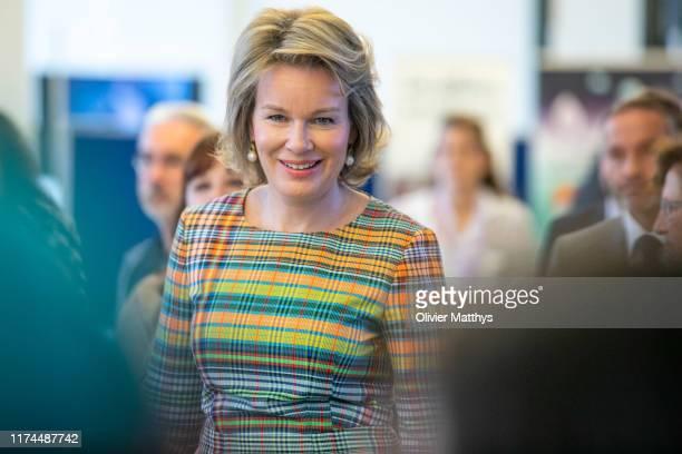 "Queen Mathilde of Belgium attends the ""100 Years of Childcare in Belgium"" symposium on September 13, 2019 in Brussels, Belgium."