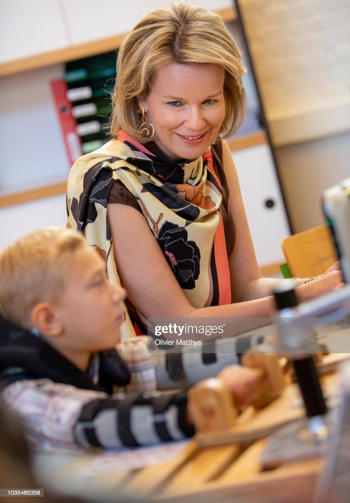 Queen Mathilde Of Belgium Attends 50 Anniversary of La Famille, Educative Center For Children In Brussels : News Photo