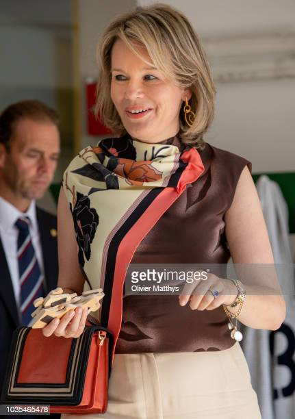 Queen Mathilde of Belgium attends the 50th anniversary of La Famille an education center for disabled children on September 18 2018 in Brussels...