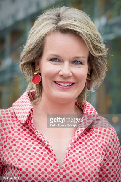 Queen Mathilde of Belgium attends the 80th birthday celebrations of Belgian Queen Paola on June 29 2017 in Waterloo Belgium The celebration is...