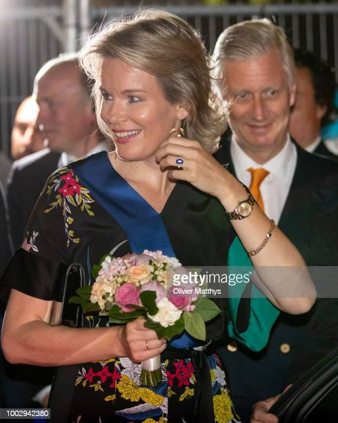 Queen Mathilde of Belgium attends the Bal Populaire at the Place Jeu de Balles on July 20 2018 in Brussels Belgium