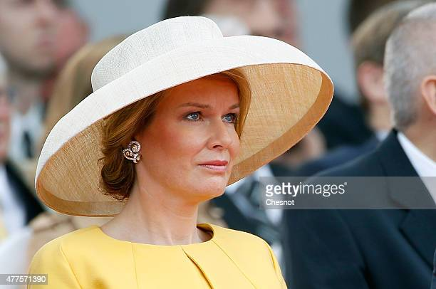 Queen Mathilde of Belgium attends the Belgian federal government ceremony to commemorate the bicentenary of the Battle of Waterloo on June 18 2015 in...