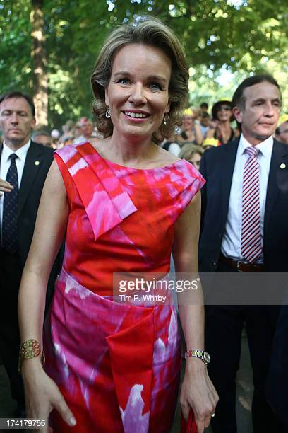 Queen Mathilde of Belgium attends the celebrations in the Park during the Abdication Of King Albert II Of Belgium Inauguration Of King Philippe on...