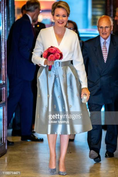 Queen Mathilde of Belgium attends the Concert of the International Music Concurs Laureates at BOZAR in Brussels on June 04, 2019 in Brussels, Belgium.