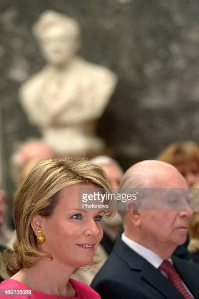 Queen Mathilde of Belgium attends the InbevBaillet Latour ceremony on April 23 2014 in Brussels Belgium