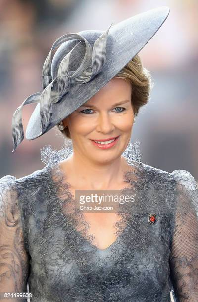 Queen Mathilde of Belgium attends the Last Post ceremony which has taken place every night since 1928 at the Commonwealth War Graves Commission Ypres...