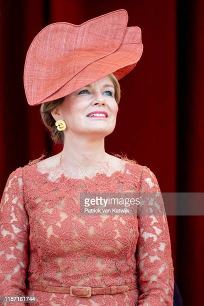 Queen Mathilde of Belgium attends the military parade during Belgian National Day on July 21 2019 in Brussels Belgium