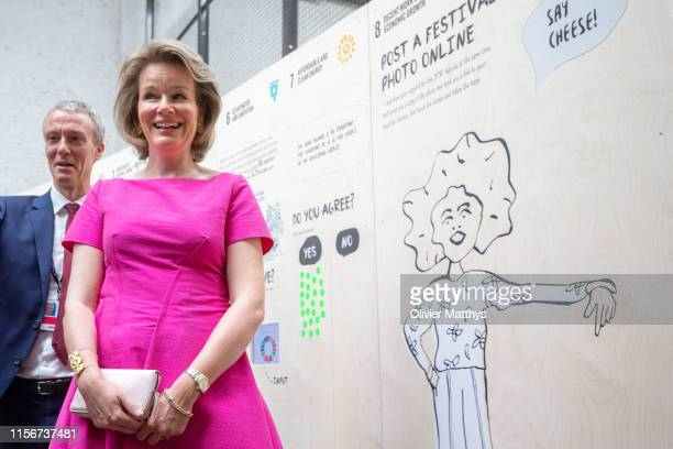 Queen Mathilde of Belgium attends the opening session of the European Development Days EDD on June 18, 2019 in Brussels, Belgium.