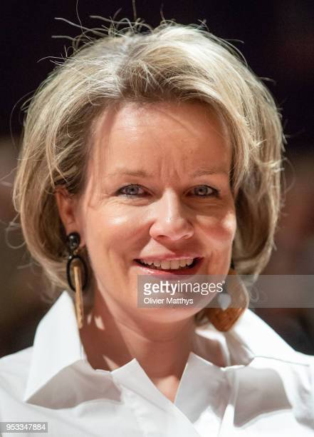 Queen Mathilde of Belgium attends the Queen Elisabeth competition Voice 2018 on May 1 2018 in Brussels Belgium