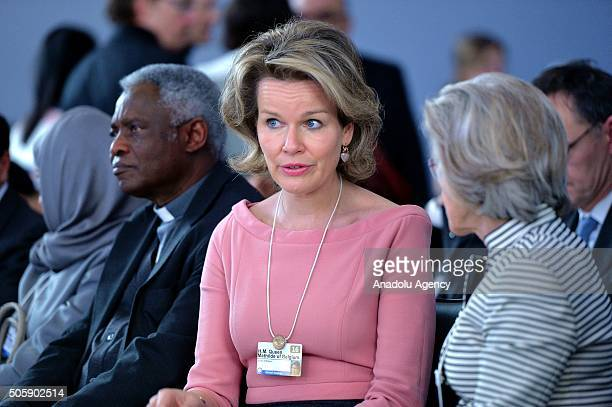 Queen Mathilde of Belgium attends the 'The Humanitarian Imperative A Global Regional and Industry Response' session of World Economic Forum in Davos...
