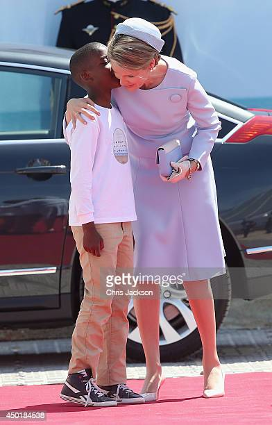 Queen Mathilde of Belgium during a Ceremony to Commemorate DDay 70 on Sword Beach on June 6 2014 in Ouistreham France Friday 6th June is the 70th...