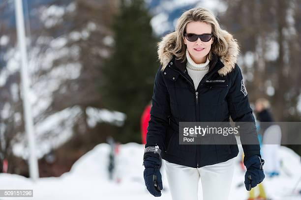 Queen Mathilde of Belgium during a family skiing holiday on February 08 2016 in Verbier Switzerland