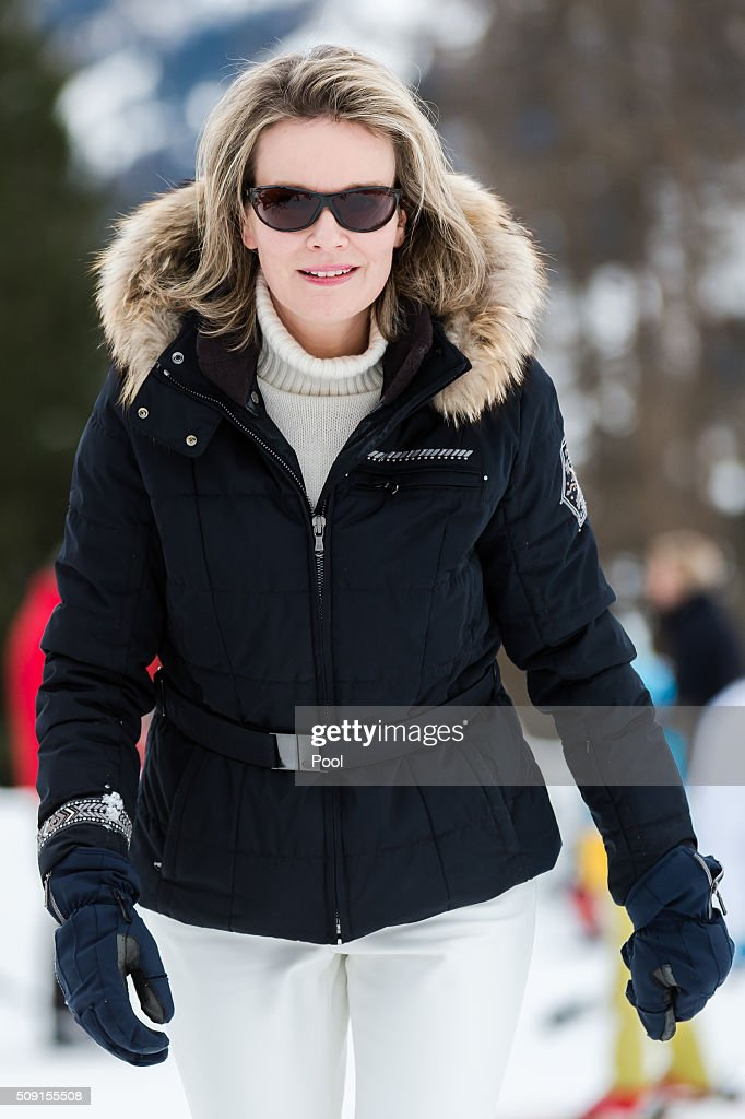 Queen Mathilde of Belgium during a family skiing holiday on February 08, 2016 in Verbier, Switzerland.