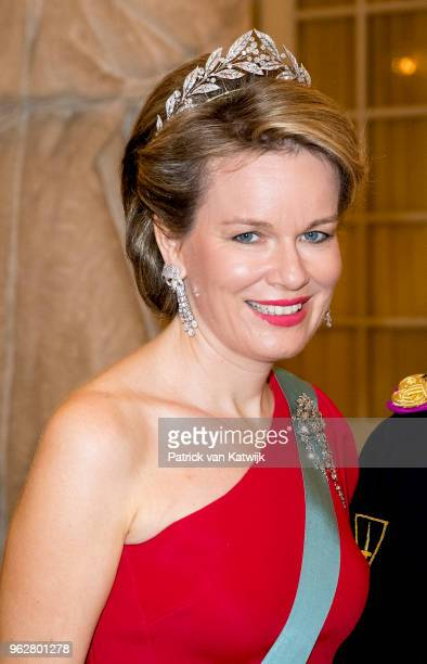 Queen Mathilde of Belgium during the gala banquet on the occasion of The Crown Prince's 50th birthday at Christiansborg Palace Chapel on May 26 2018...