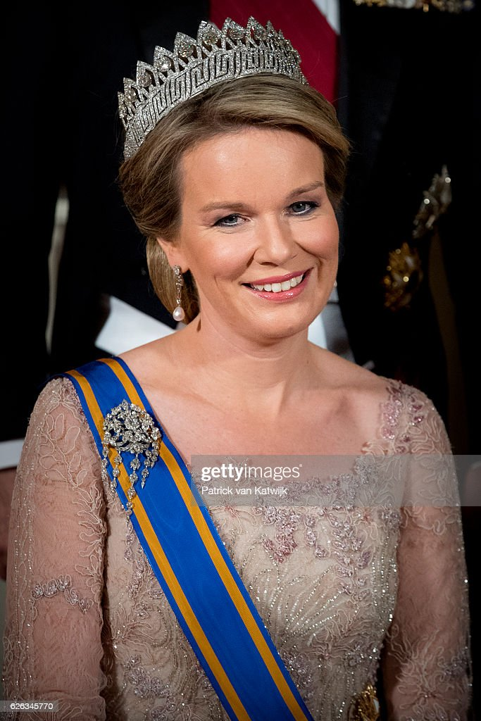 Queen Mathilde of Belgium during the official photo ahead the state banquet for the Belgian King and Queen on November 28, 2016 in Amsterdam, Netherlands.