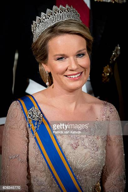 Queen Mathilde of Belgium during the official photo ahead the state banquet for the Belgian King and Queen on November 28 2016 in Amsterdam...