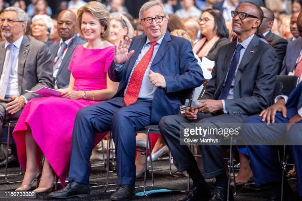 Queen Mathilde of Belgium, European Commission President Jean-Claude Juncker and President of Rwanda Paul Kagame attend the opening session of the...