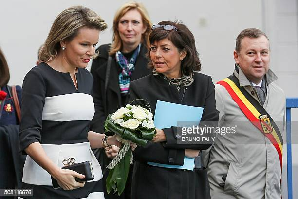 Queen Mathilde of Belgium Federation Wallonia Brussels Minister of Compulsory Education School Buildings Childhood and Culture Joelle Milquet and...